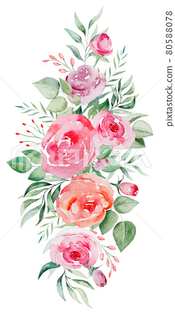 Watercolor pink and red roses flowers and leaves bouquet illustration 80588078