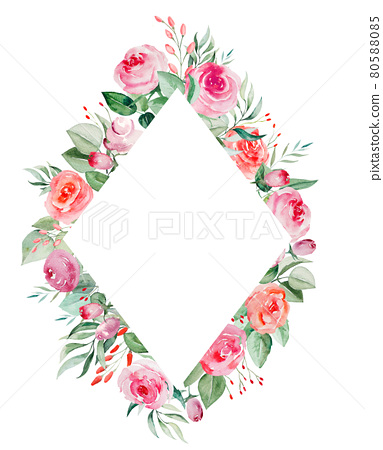 Watercolor pink and red roses flowers and leaves frame illustration 80588085