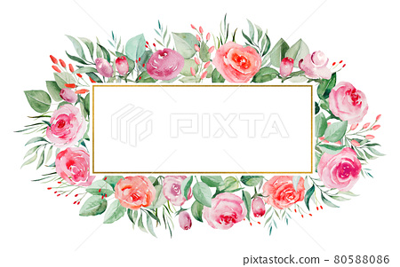 Watercolor pink and red roses flowers and leaves frame illustration 80588086