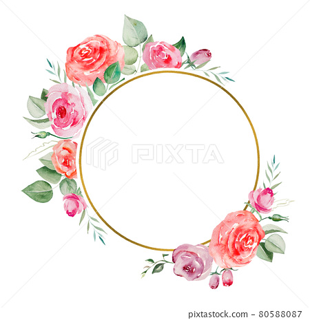 Watercolor pink and red roses flowers and leaves frame illustration 80588087