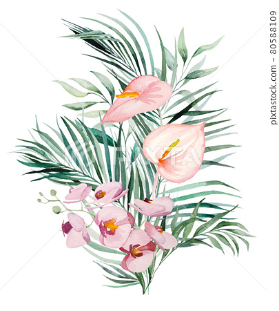 Watercolor tropical flowers and leaves bouquet illustration 80588109