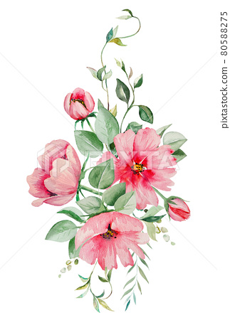 Watercolor pink flowers and green leaves bouquet illustration 80588275