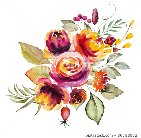 Watercolor autumn bouquet made of flowers and leaves isolated 80588952