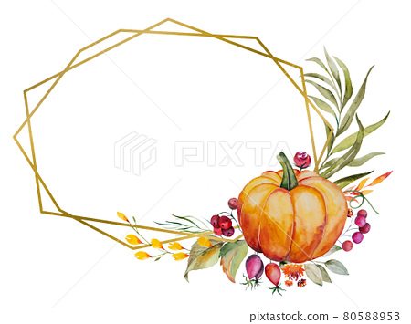 Watercolor autumn frame made of pumpkin, berries, flowers and leaves 80588953