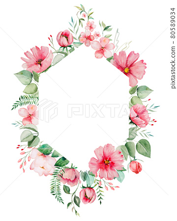 Watercolor pink wild flowers and green leaves frame Illustrations 80589034