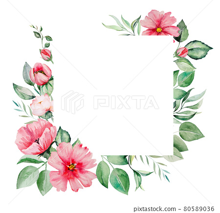 Watercolor pink flowers and green leaves Illustrations 80589036