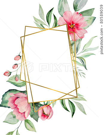Watercolor pink flowers and green leaves card illustration 80589039