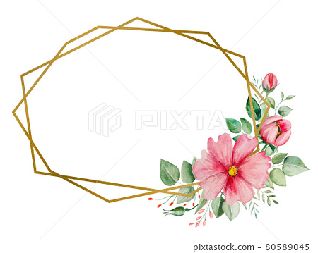 Watercolor pink flowers and green leaves card illustration 80589045