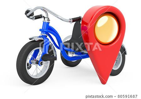 Map pointer with childrens tricycle, 3D rendering 80591687