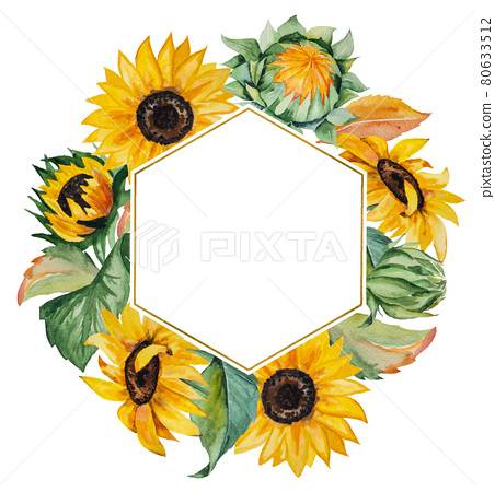 Watercolor autumn frame made of sunflowers and leaves 80633512