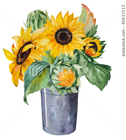 Watercolor autumn bouquet made of sunflowers and leaves isolated 80633513