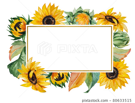 Watercolor autumn frame made of sunflowers and leaves isolated 80633515