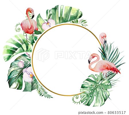 Watercolor pink flamingo, tropical leaves and flowers frame isolated illustration 80633517
