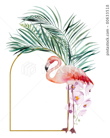 Watercolor pink flamingo, tropical leaves and flowers frame isolated illustration 80633518
