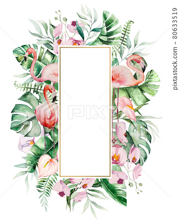 Watercolor pink flamingo, tropical leaves and flowers frame isolated illustration 80633519