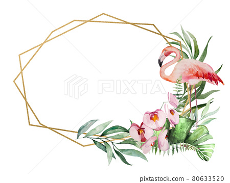 Watercolor pink flamingo, tropical leaves and flowers frame isolated illustration 80633520