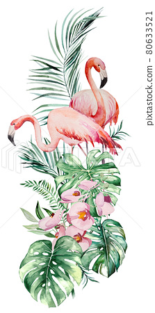 Watercolor pink flamingo, tropical leaves and flowers frame isolated illustration 80633521