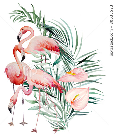 Watercolor pink flamingo, tropical leaves and flowers frame isolated illustration 80633523