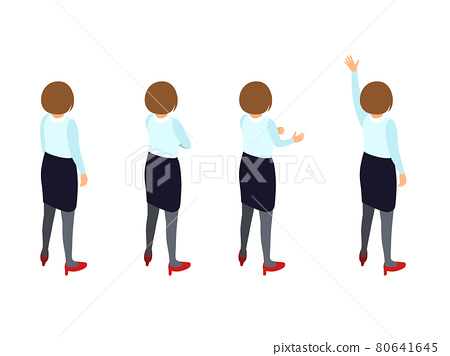 Back view isometric of a business woman. Set of 4 patterns 80641645