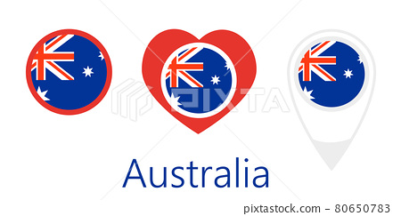 National flag of Australia, round icon, heart icon and location sign 80650783