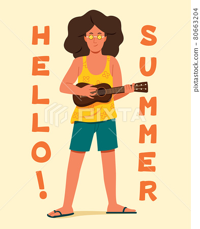 Man Play the Ukulele with the Words are Hello Summer for the Summer Concept. 80663204