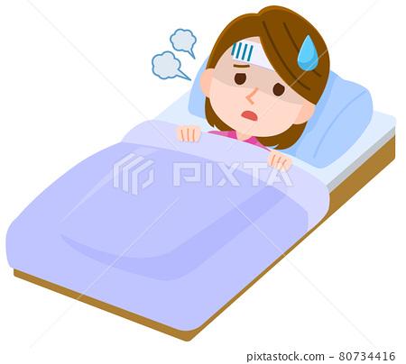 flu, female, lady 80734416