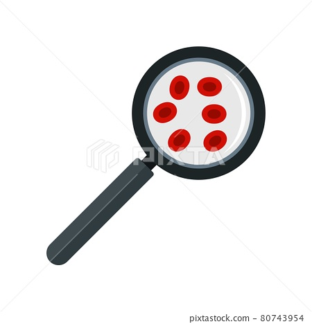 Blood under magnifier icon flat isolated vector 80743954
