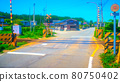 Country roads and railroad crossings Anime-style processing 80750402