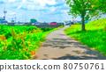 Riverside promenade animation style processing 80750761