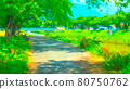 Riverside promenade animation style processing 80750762