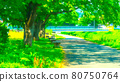 Riverside promenade animation style processing 80750764