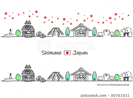 Shimane prefecture cityscape and new coronavirus simple line drawing set 80761832