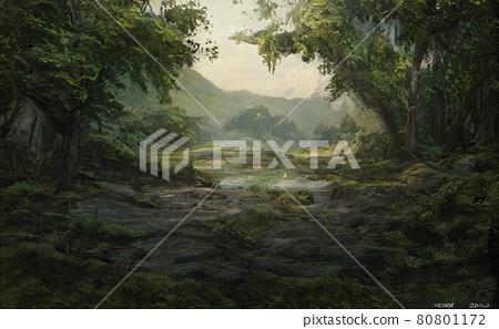 營造出陰暗可疑氣氛的森林插圖[風景] 80801172