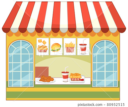 Front of fast food store isolated 80932515