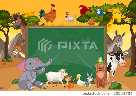 Empty blackboard with various wild animals in the forest 80933704