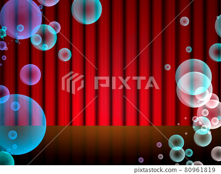 A stage where soap bubbles fly and are illuminated by spotlights. 80961819