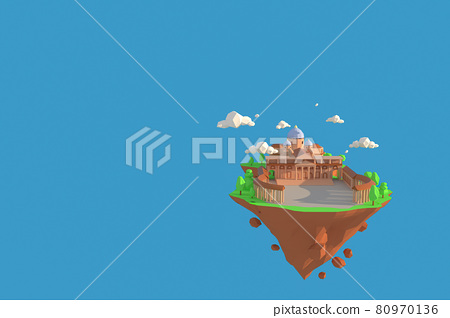 3D illustrator of Basilica Vatican, Rome , Italy. 3D rendering of a low polygon model including path selection 80970136