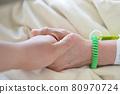 一個有同情心的人牽著一個要住院的病人的手 80970724