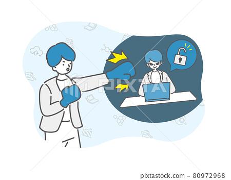 Businessmen fighting hackers 80972968