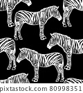 Seamless black and white pattern with african zebras 80998351
