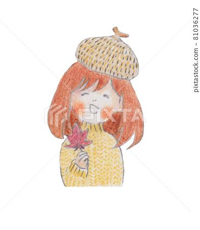 손으로 그린 일러스트, 도토리 모자를 쓰고 단풍을 가진 여자 81036277