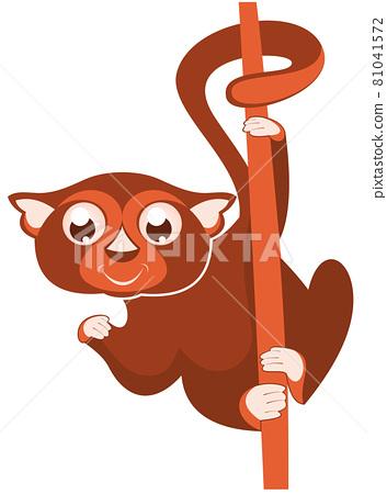 Lemur or sloth original illustration. Cute lemur or slot holds on the tree isolated on white illustration 81041572