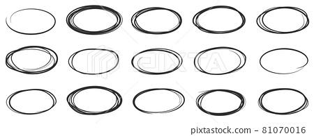 Hand drawn ellipse doodles, sketch pencil oval frames. Black outline round shapes doodle drawing, scribble brush stroke circles vector set 81070016
