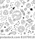 Hand drawn space doodles, universe, planets and stars sketches. Cute rocket, alien, comet, moon. Galaxy scribbles vector seamless pattern 81070018