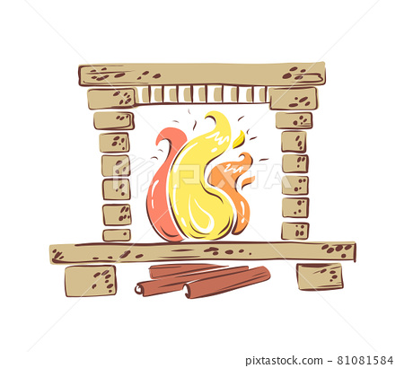 Vector hand drawn fireplace. Comfort, homely atmosphere in simple things. Scandinavian-style living room decor and interior element. Hygge. Isolated background. 81081584