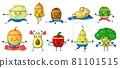 Fruits and vegetables exercising. Melon, kiwi in yoga poses, broccoli with dumbbells. Strong healthy fruit and vegetable characters vector set 81101515