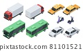 Isometric 3d city transport, transportation vehicles, cars. Front and back view of sedan car, public bus, cargo truck, scooter vector set 81101521