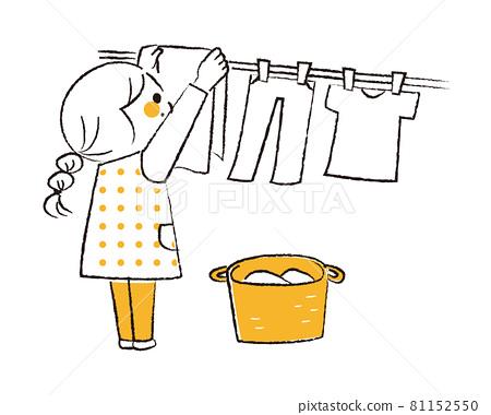 세탁을 도울 소녀 81152550