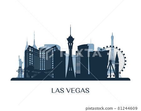Las Vegas skyline, monochrome silhouette.  81244609