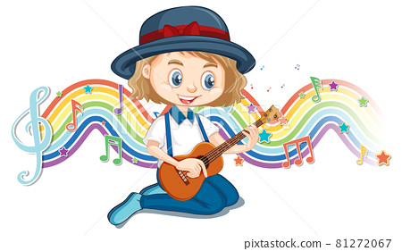 Girl playing guitar with melody symbols on rainbow wave 81272067